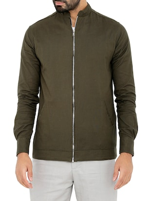 solid moss green cotton bomber jacket -  online shopping for Bomber Jackets