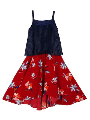 red and blue cotton blend frock -  online shopping for frocks