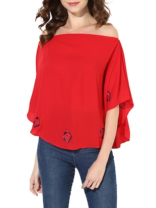 red embroidered kaftan top