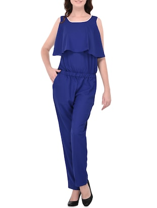 blue crepe casual jumpsuit -  online shopping for Jumpsuits