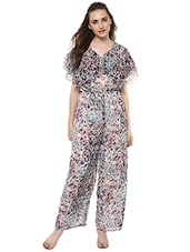 multicolored floral printed georgette full leg jumpsuit -  online shopping for Jumpsuits