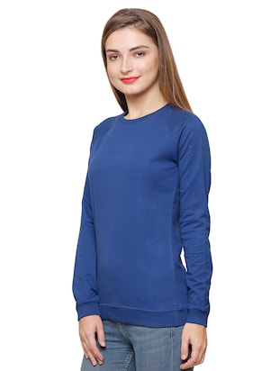 blue cotton casual sweatshirt - 14393354 - Standard Image - 2