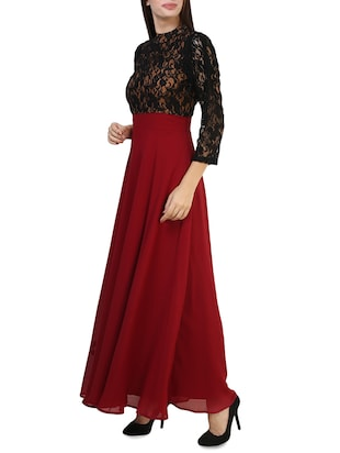 maroon polyester maxi dress - 14394992 - Standard Image - 2
