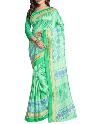 green cotton silk printed saree with blouse