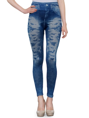 ba05ab84bae84 Buy Set Of 2 Multi Colored Poly Spandex Printed Jegging for Women from Oleva  for ₹687 at 47% off | 2019 Limeroad.com
