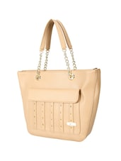 beige leatherette  regular handbag -  online shopping for handbags
