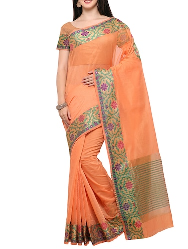 5511d47d07906 Buy Peacock Embroidered Paper Silk Saree With Blouse for Women from Zurich  for ₹1037 at 59% off
