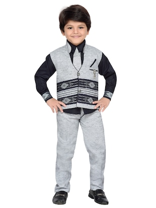grey khadi suit set - 14408629 - Standard Image - 2