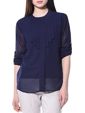 navy blue georgette straight top -  online shopping for Tops