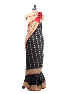 Black Banarsi Silk Saree - Saboo