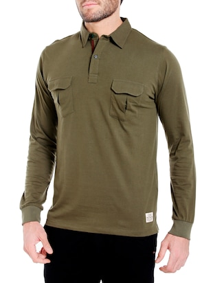Olive green cotton solid t-shirt - 14413894 - Standard Image - 2