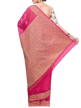 pink saree with blouse - 14414438 - Standard Image - 2