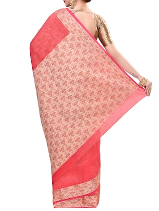 peach cotton blend bordered saree with blouse - 14414452 - Standard Image - 2