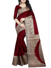 maroon art silk printed saree -  online shopping for Sarees