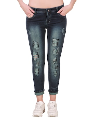 Dark blue denim distressed jean -  online shopping for Jeans
