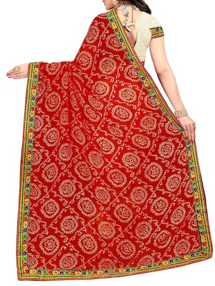 red and white half & half saree with blouse - 14416386 - Standard Image - 2