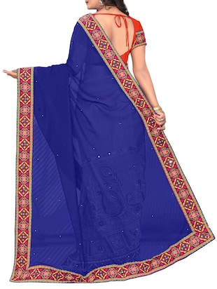 blue and orange half & half saree with blouse - 14416389 - Standard Image - 2