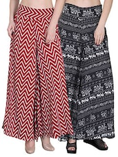 Set of 2 multi colored crepe palazzo -  online shopping for Palazzos