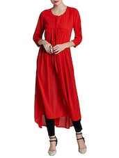 Red georgette high low kurta -  online shopping for kurtas