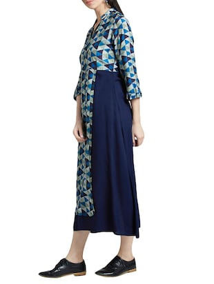 navy blue printed maxi dress - 14417752 - Standard Image - 2