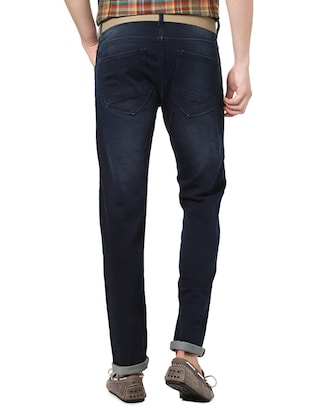 navy blue cotton washed jeans - 14419385 - Standard Image - 2