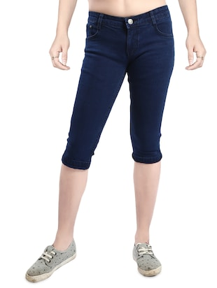 dark blue denim capri -  online shopping for Capris