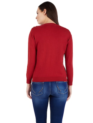Maroon knitted top - 14419976 - Standard Image - 2