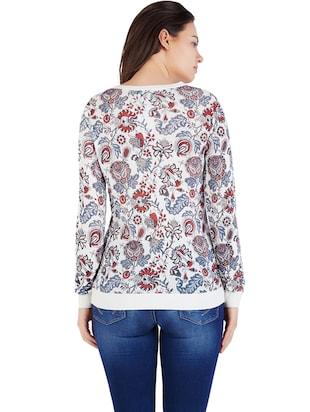 white viscose printed top - 14419980 - Standard Image - 2