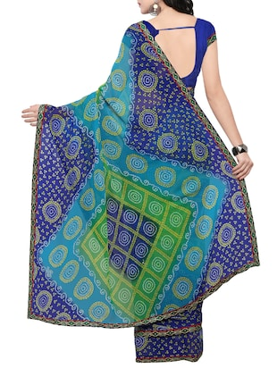 blue georgette bandhani saree with blouse - 14420546 - Standard Image - 2
