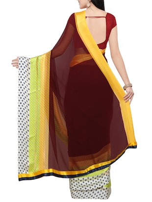 brown georgette printed saree with blouse - 14420559 - Standard Image - 2