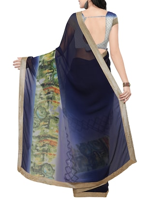 blue georgette printed saree with blouse - 14420573 - Standard Image - 2