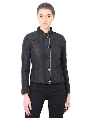 black quilted turtle neck jacket