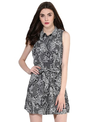 black printed shirt dress - 14422068 - Standard Image - 2
