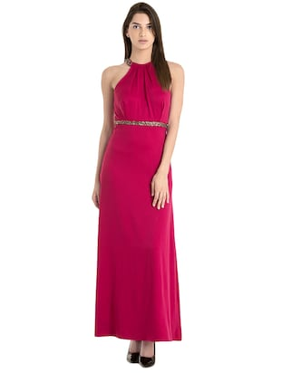 pink halter neck maxi dress