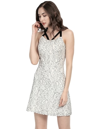 white printed fit & flare dress - 14422300 - Standard Image - 2