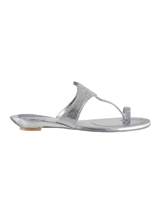silver sheet one toe sandals - 14422770 - Standard Image - 2