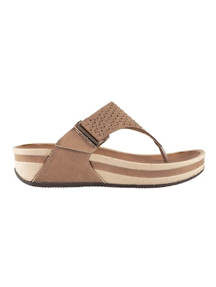 brown open thong wedge - 14422962 - Standard Image - 2