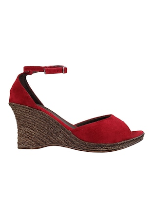 red ankle strap wedge - 14422995 - Standard Image - 2