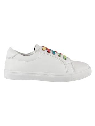 white faux leather laceup sneakers - 14423291 - Standard Image - 2
