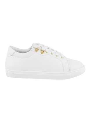 white pu laceup sneakers - 14423297 - Standard Image - 2