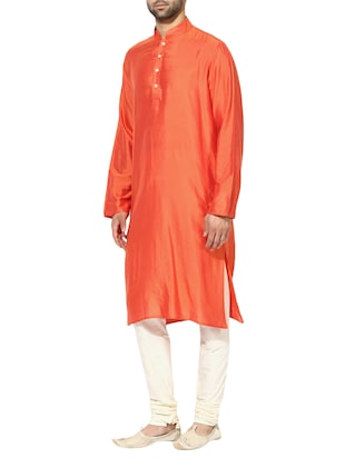 orange silk blend long kurta - 14424885 - Standard Image - 2