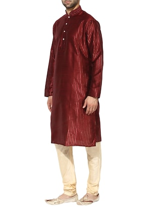 red dupion long kurta - 14424887 - Standard Image - 2