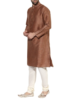 brown silk blend long kurta - 14424902 - Standard Image - 2