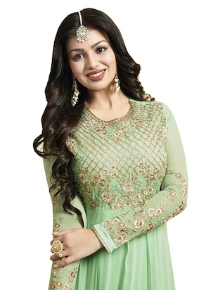 green faux georgette anarkali suits semistitched suit - 14425797 - Standard Image - 2