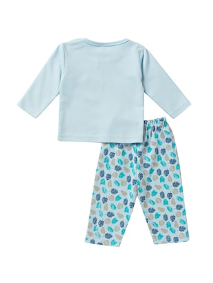 blue cotton nightwear set - 14425989 - Standard Image - 2