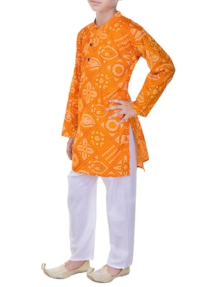 yellow and white cotton kurta set - 14428931 - Standard Image - 2