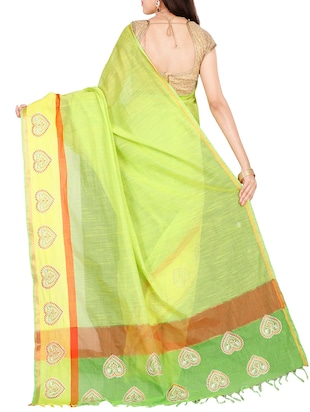 The Chennai Silks green bordered saree with blouse - 14428998 - Standard Image - 2