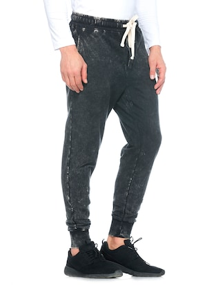 black cotton  full length track pant - 14430847 - Standard Image - 2