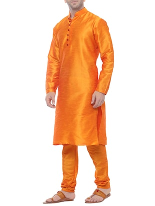 orange silk blend kurta payjama set - 14431421 - Standard Image - 2