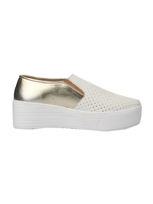 white faux leather plimsolls casual shoes - 14432174 - Standard Image - 2
